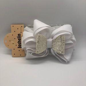 Joshelin White Glitter Bow Headband